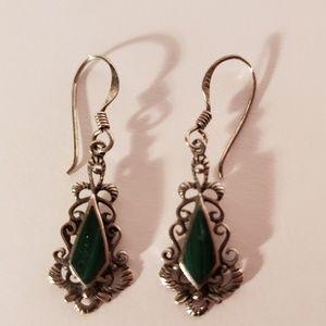 Vintage 1970s Malachite Sterling Silver Earrings